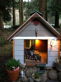 Extra Large Dog House made with 100% reclaimed materials. $999.00, via Etsy.