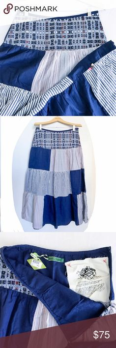 "Oilily summer bellow the knee skirt. Sea and sky colors. Fun summer skirt. Top to bottom 34,5"" Long. 100% Cotton. Oilily Skirts Midi"