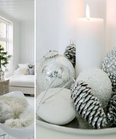 Glittery winter decor