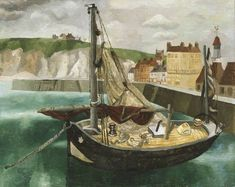 """A Fishing Boat in Dieppe Harbour"" by Christopher Wood, 1929"