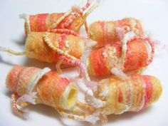 Fiber Bead set Orange and yellow with strings