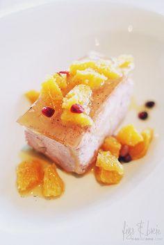 Pomegranate and white chocolate semifreddo, vanilla jelly, orange compote at Esca Bimbadgen Restaurant