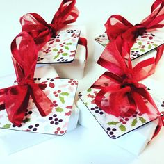 More holly jolly soap gifts shipping out today.  One of our favorites to wrap at the soap studio. http://deshawnmarie.etsy.com