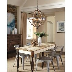 Get inspired by Rustic Dining Room Design photo by Wayfair. Wayfair lets you find the designer products in the photo and get ideas from thousands of other Rustic Dining Room Design photos. Farmhouse Dining Room Lighting, Dining Room Light Fixtures, Chandeliers For Dining Room, Farmhouse Lamps, Farmhouse Chandelier, Dining Room Design, Dining Room Table, Dining Rooms, Dining Area