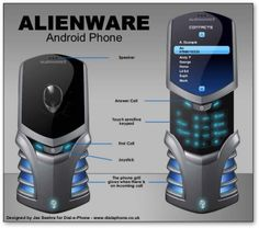 Alienware Mobile Phone design built on Android - the familiar look of the Alienware computers with a glowing grill when calls come in, a a slide-up display to reveal a touch-sensitive keypad, a joystick for mobile gaming. These look to be just designs for now.