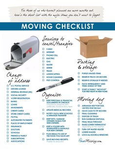 Printable moving checklist. Change of address. services to stop. organizing #NCR #NealClayton #Nashville #Real #Estate