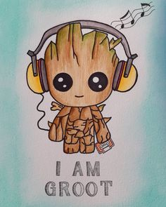 My little baby groot, loved this buddy. The cute music lover🌿🌳 My little baby groot, loved this buddy. The cute music lover🌿🌳 Cute Disney Drawings, Cool Art Drawings, Kawaii Drawings, Drawing Disney, Cute Drawings Of Love, Cute Cartoon Drawings, Colorful Drawings, Pencil Drawings, Cute Disney Wallpaper
