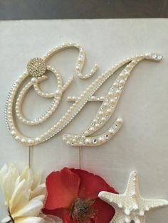 Monogram Wedding Cake Topper Pearl Cake by ShellCoastalDesigns