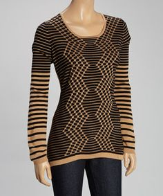 Another great find on #zulily! Black & Beige Geometric Sweater by Romeo & Juliet Couture #zulilyfinds