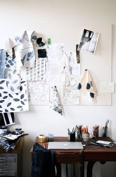 Rebecca Atwood's studio space with fabric swatches.