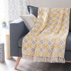 Jeté en coton jaune/gris 160 x 210 cm ALCOBACA