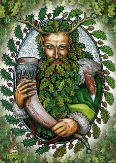 Druids Trees:  The Goddess and the #Green #Man | Yule Catalogue | Lord Of Green Yule Pack Of 8 Cards.