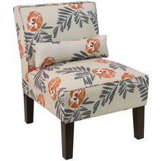 Skyline Cream Fabric with Orange/Grey Floral Pattern Accent Chair (Mod Floral Orange), Blue
