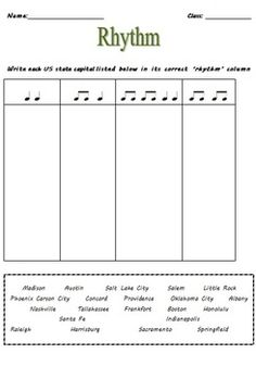 Music Theory: Three RHYTHM Activity Worksheets with answer sheets