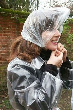 """ looks like rain so, I'd better put my rain bonnet on, just in case. It matches my raincoat perfectly"" Wait for me to tie my bonnet Clear Raincoat, Green Raincoat, Raincoat Jacket, Plastic Raincoat, Pvc Raincoat, Plastic Pants, Hooded Raincoat, Rain Bonnet, Bonnet Hat"