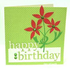 Memory Box Grand Happy Birthday-Memory Box Poinsettia Bloom Trio-Memory Box Curled Ribbons-Memory Box Sturdy Stem-Jean Okimoto