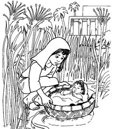 Coloring page baby Moses Kleurplaat Pinterest Baby moses
