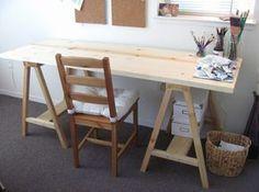 Schreibtisch selber bauen ideen  schreibtisch selber bauen diy ideen weiße holzplatte schwarze ...