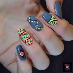 Ethnic & Neon nail art by Love Nails Etc Nail Art Tribal, Neon Nail Art, Neon Nails, Shellac Nails, Cute Nail Art, Beautiful Nail Art, Gorgeous Nails, Love Nails, Swag Nails