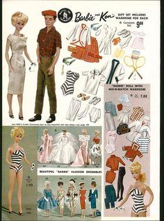 1962 ADVERTISEMENT 2 Page Mattel Barbie Ken Fashion Dolls Wardrobe COLOR in Other | eBay