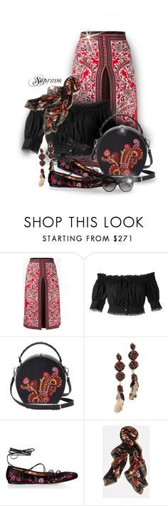 """Alexander Mcqueen Paisley with embroidery flats"" by sopranooo ❤ liked on Polyvore featuring Alexander McQueen, Trilogy, Bertoni, Deepa Gurnani, Etro, Lafayette 148 New York, paisley, RedWhiteAndBlack, mcqueenskirt and embroideryflat"