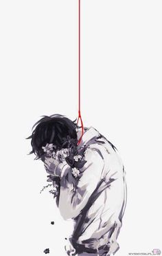 Image via We Heart It #boy #manga #sad #suicide #redrope