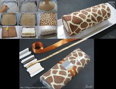 Last weekend I made this fun, giraffe-patterned swiss roll cake. Just Desserts, Delicious Desserts, Yummy Food, Cake Recipes, Dessert Recipes, Cake Ingredients, Let Them Eat Cake, Food Hacks, Cupcake Cakes