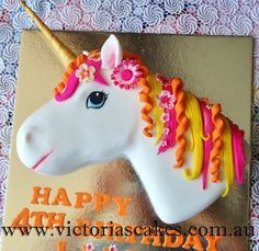 3D Unicorn head birthday cake