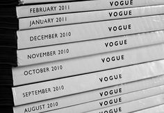 Stacks and stacks of Vogue, fashion escapism.