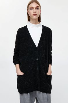 COS image 2 of Oversized wool cardigan in Charcoal Grey