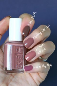 Essie Wild Nude Collection : Swatches & Comparisons The post Essie Wild Nude Collection : Swatches & Comparisons (Essie Envy) appeared first on Best Pins for Yours. Cute Nails, Pretty Nails, My Nails, Glitter Nails, Essie Nail Colors, Essie Gel, Fall Nail Colors, Summer Colors, Nagellack Trends