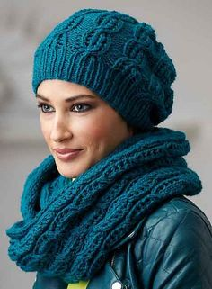 Free Knitting Pattern for Northern Lace Hat and Loop Scarf - Matching slouchy beanie and infinity scarf with a lace motif. Designed by Schachenmayr