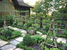 Kitchen garden design gallery of vegetable garden design layout or Rustic Garden Wedding, Rustic Backyard, Rustic Gardens, Rustic Outdoor, Backyard Ideas, Herb Garden, Vegetable Garden, Fence Garden, Lush