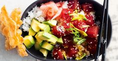 Poke (pronounced poh-keh) bowls are a Hawaiian delicacy, which are taking off here in Australia. Fresh fish is tossed in soy sauce, sesame seeds and rice wine vinegar before being piled onto sushi rice. Serve with diced avocado and pickled ginger.