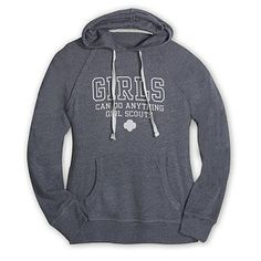 """A cozy and lightweight hooded pullover for campfires or sleepovers. Raglan sleeve with pouch pocket and """"Girls Can Do Anything Girl Scouts"""" screenprint. Girl Scout Shop, Daisy Girl Scouts, Brownie Girl Scouts, Graphic Sweatshirt, T Shirt, Hoods, Pullover, Scout Store, Sweatshirts"""
