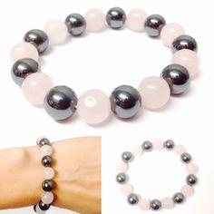 Rose Quartz Bracelet - Hematite Bracelet - Gemstone Bracelet - Rose Quartz Beads - Hematite Beads - Gemstone Beads -Rose Quartz and Hematite by OurUniverseShop on Etsy