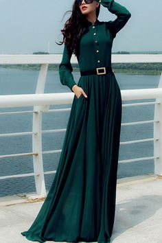 Dark Green Button Up Long Sleeve Vintage Maxi Dress #Dark #Dress #maykool
