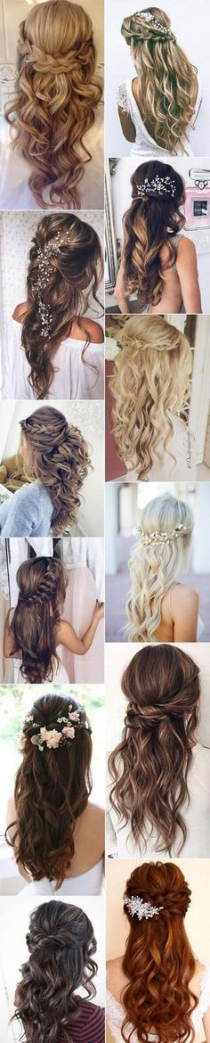 We go crazy over chic wedding hairstyles for long hair, especially half up half down hairstyles. Half up half down hairstyles #BunHairstylesHalf