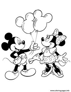 print mickey giving minnie mouse balloons disney coloring pages - Free Printable Coloring Pages For Kids Disney