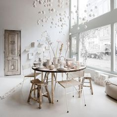 This is the time of the year to reconnect with your loved ones. Gather around the table and 'talk to the ones who make you see the world differently.' Lovely words by Rumi. Table And Chairs, Dining Table, Amsterdam Houses, Sweet Home, Deco Boheme, Winter House, Home And Deco, Beautiful Interiors, White Interiors