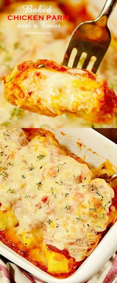 Baked Chicken Parm with a Twist - Eight-ingredient and quick, breaded with cornmeal (Gluten-free) and stuffed with lots of cheese! No pan-frying involved. Chicken is baked directly in the oven, saving time and the stovetop mess.