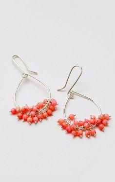 Teardrop Pink Coral Earring Sterling Silver