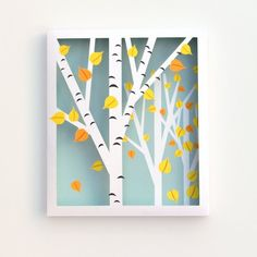 Make this 3-D birch tree shadow box art with only 2 pieces of paper - Free template to print and make your own fall-inspired decor!