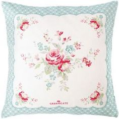 GreenGate Pudebetræk - Cushion Cover - Abelone Mint Piece Printed 40x40 cm