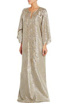 NEW Oscar de la Renta Embellished Silk Blend Lame Caftan Gold Silk Kaftan, Caftan Dress, Modele Hijab, Moroccan Caftan, Floor Length Gown, Poncho, Hijab Fashion, African Fashion, Designer Dresses