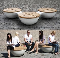 New Outdoor Public Seating Bench Designs 37 Ideas Concrete Furniture, Urban Furniture, Street Furniture, Furniture Design, Cafe Furniture, Furniture Stores, Public Seating, Outdoor Seating Areas, Garden Seating