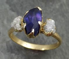 Partially Faceted Sapphire Raw Multi stone Rough Diamond 18k Gold Engagement Ring Wedding Ring Custom One Of a Kind Violet Gemstone Ring Three stone