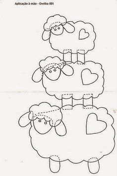3 different sizes sheep Wool Applique Patterns, Applique Templates, Sewing Appliques, Felt Patterns, Applique Quilts, Applique Designs, Craft Patterns, Embroidery Applique, Embroidery Patterns