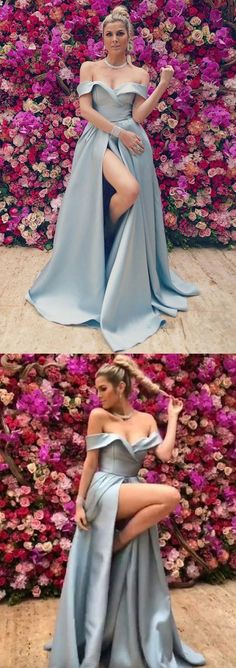 Off the Shoulder Dusty Blue Prom Dress, Satin Formal Dress with High Slits #prom #promdresses