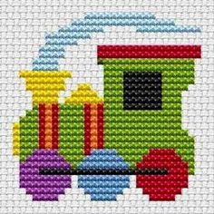 Sew Simple Train cross stitch kit from Fat Cat Cross Stitch Finished size approx… Cross Stitch For Kids, Cross Stitch Cards, Cross Stitch Baby, Simple Cross Stitch, Counted Cross Stitch Kits, Cross Stitch Embroidery, Embroidery Patterns, Cross Stitch Train, Hand Embroidery